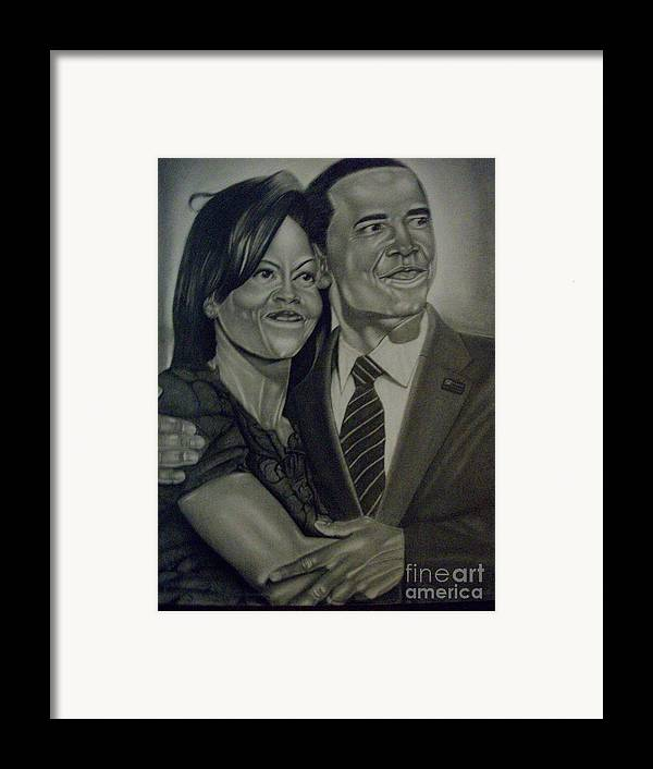 President Framed Print featuring the drawing Mr. And Mrs. Obama by Handy