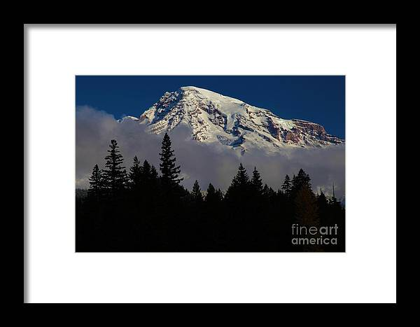 Mt Rainier Clouds Framed Print featuring the photograph Mt. Rainier by Adam Jewell