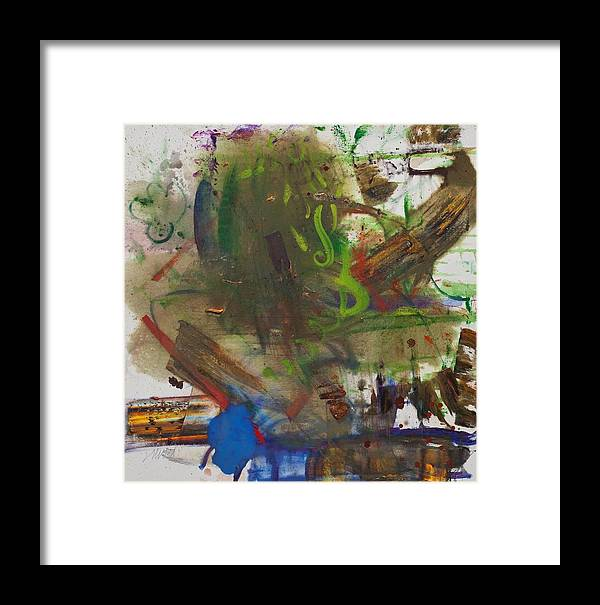 Abstract Framed Print featuring the painting Mud by Gisele Aliyah