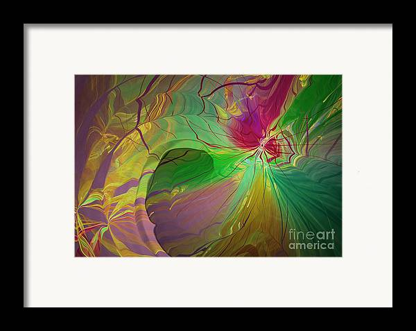 Abstract Framed Print featuring the digital art Multi Colored Rainbow by Deborah Benoit