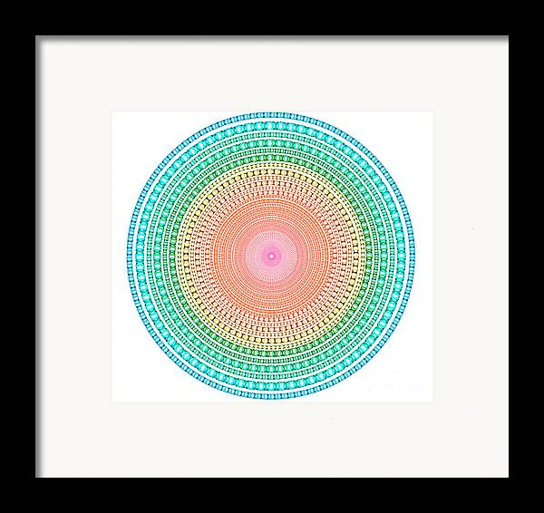 Abstract Framed Print featuring the digital art Multicolor Circle by Atiketta Sangasaeng