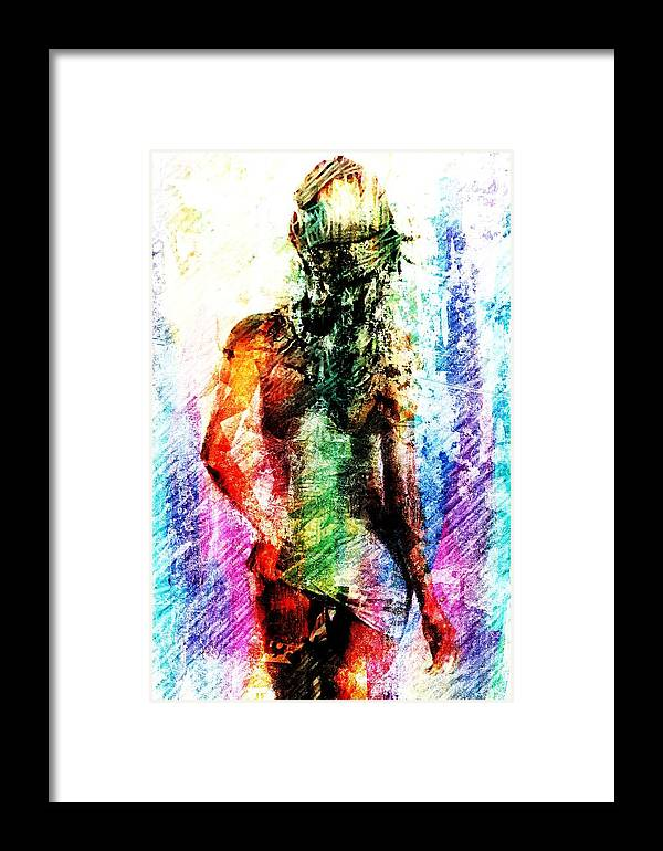 Woman Framed Print featuring the digital art Multicolorwoman by Andrea Barbieri