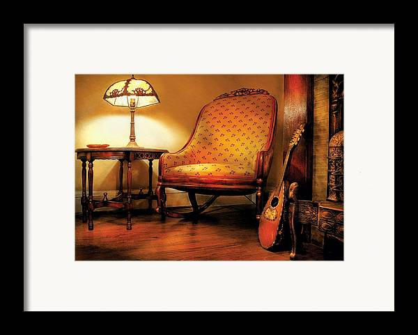 Savad Framed Print featuring the photograph Music - String - The Chair And The Lute by Mike Savad