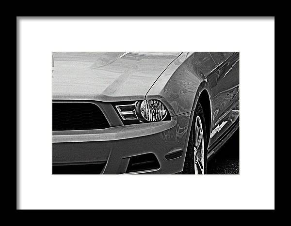 Black And White Framed Print featuring the photograph Mustang 002 by Elizabeth Doran
