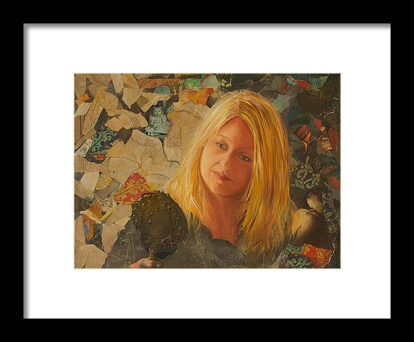 Collage Portait Framed Print featuring the painting My Face At 50 by Pamela Ramey Tatum