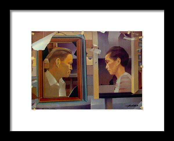 Father Framed Print featuring the painting My Folks 1969 by Glenn Bautista