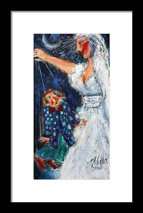 Humor Framed Print featuring the painting My Lovely Husband by Malka Tsentsiper