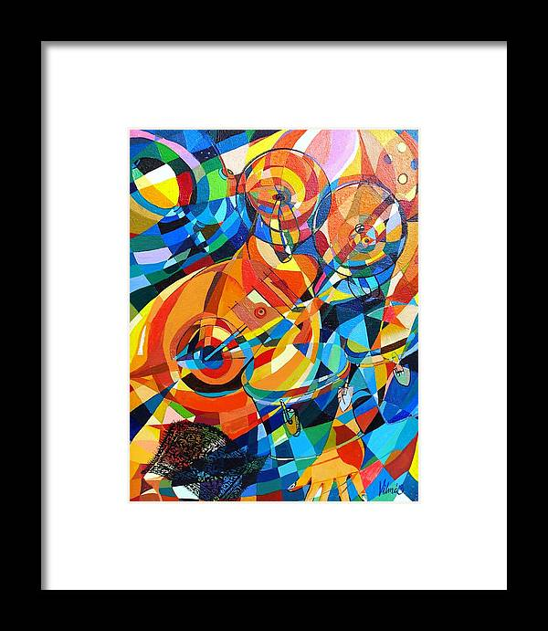 Abstract Framed Print featuring the painting My Music My Song by Mario Villareal