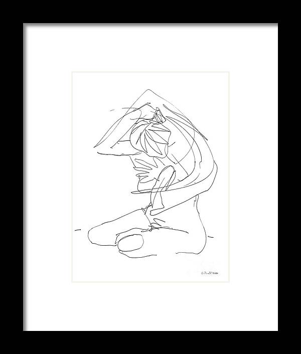 Females Framed Print featuring the drawing Naked-female-art-23 by Gordon Punt