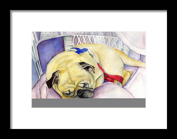 Dogs Framed Print featuring the painting Naptime For Baden by Paul Cummings