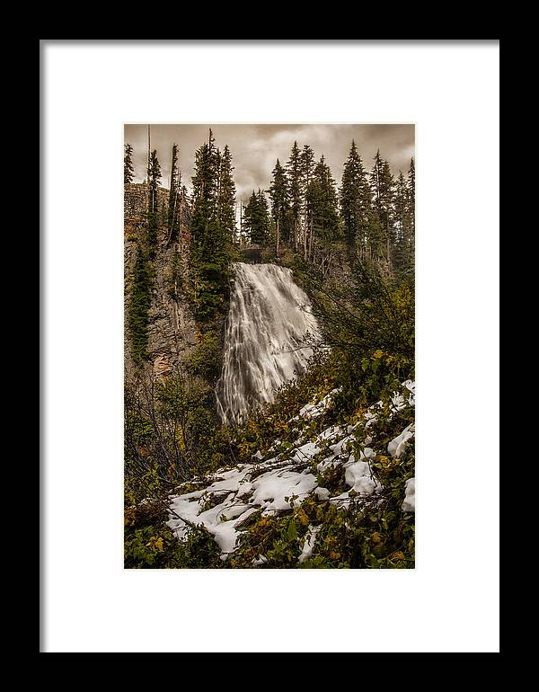 Narada Falls Mt Rainier National Park With The First Snow Fall Of The Year. Narada Falls And Stormy Skies And A Touch Of Snow Framed Print featuring the photograph Narada Falls by Nichon Thorstrom
