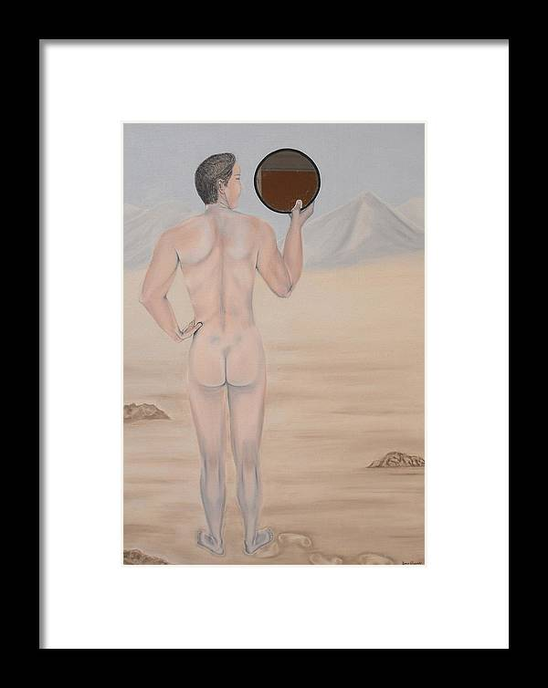 Young Man Framed Print featuring the painting Narcissus by Bosco Alvarado