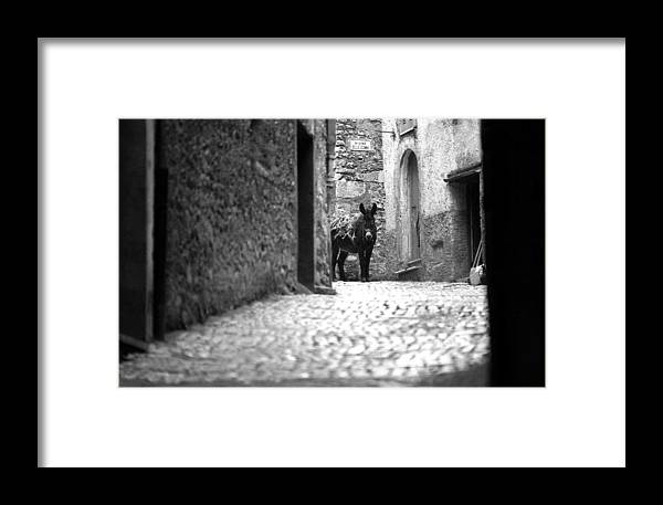 Italy Framed Print featuring the photograph Narrow Street In Orvieto Italy by Emanuel Tanjala
