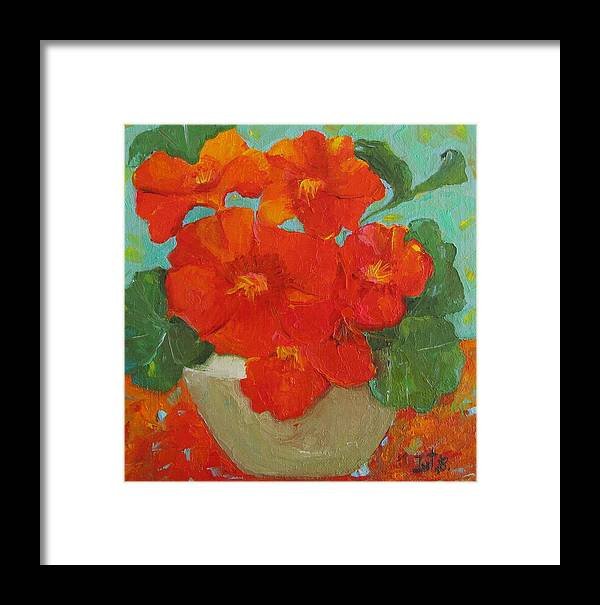 Floral Framed Print featuring the painting Nasturtium by Irit Bourla