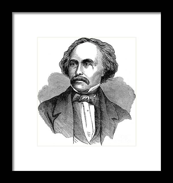 19th Century Framed Print featuring the photograph Nathaniel Hawhtorne by Granger