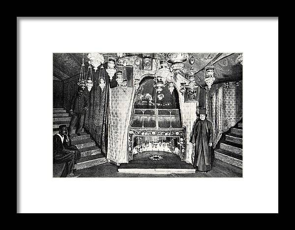 Nativity Framed Print featuring the photograph Nativity Grotto In 18th Century by Munir Alawi