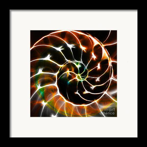 Yingyang Framed Print featuring the photograph Nautilus Shell Ying And Yang - Electric - V1 - Orange by Wingsdomain Art and Photography