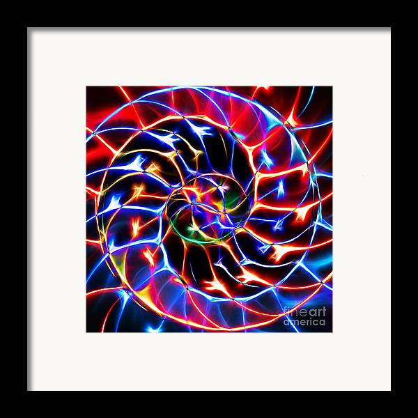 Yingyang Framed Print featuring the photograph Nautilus Shell Ying And Yang - Electric - V2 - Blue by Wingsdomain Art and Photography