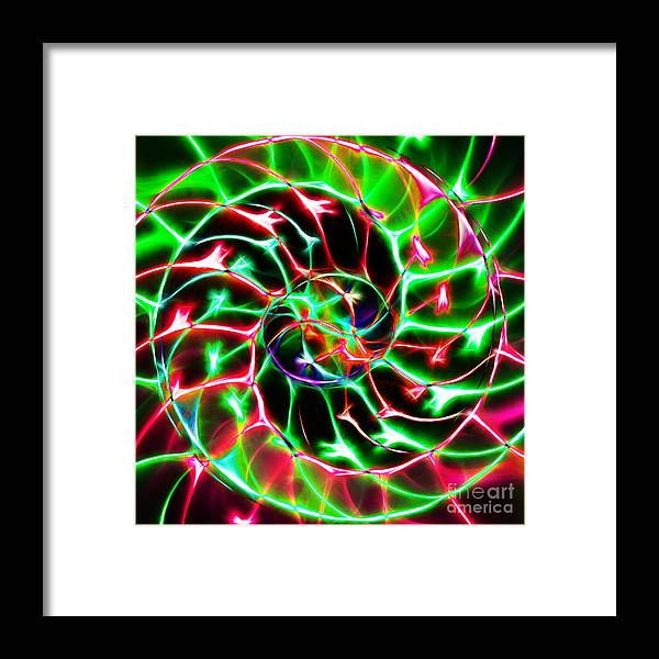 Yingyang Framed Print featuring the photograph Nautilus Shell Ying And Yang - Electric - V2 - Green by Wingsdomain Art and Photography