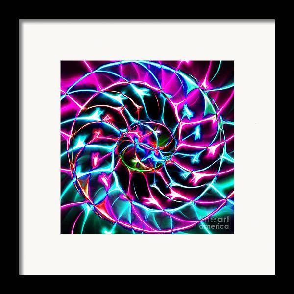 Yingyang Framed Print featuring the photograph Nautilus Shell Ying And Yang - Electric - V2 - Violet by Wingsdomain Art and Photography