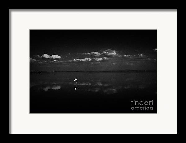Inland Framed Print featuring the photograph Navigation Warning Marker On Still Lough Neagh County Antrim Northern Ireland by Joe Fox