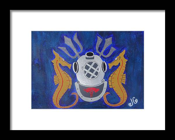 United States Navy Diver Symbol Framed Print featuring the painting Navy Diver by Jessica Cruz