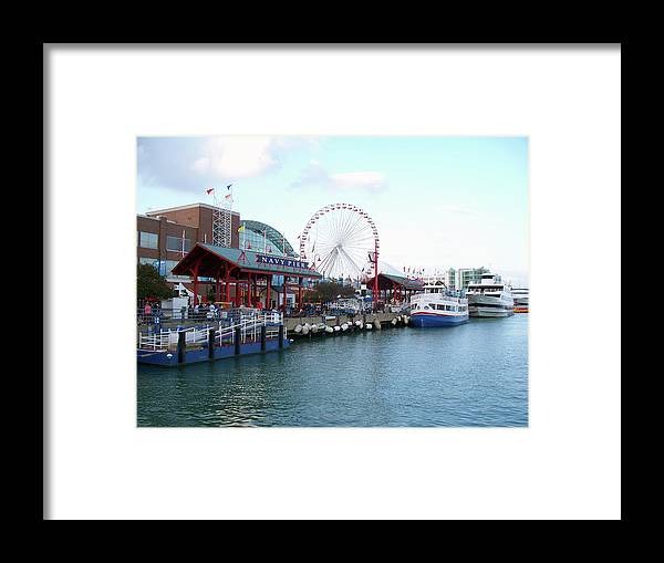Cities Framed Print featuring the photograph Navy Pier Chicago Summer Time by Thomas Woolworth