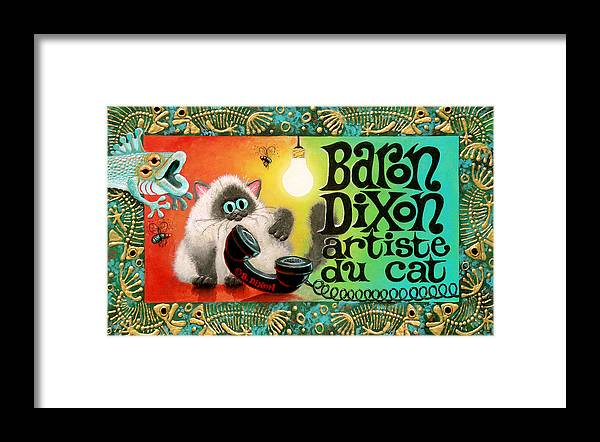 Cat Framed Print featuring the painting NeoCatism BizCard by Baron Dixon