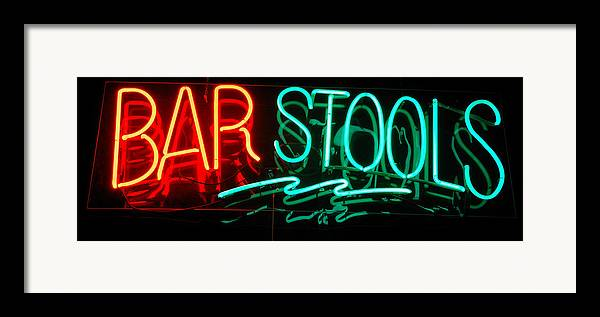 Neon Framed Print featuring the photograph Neon Bar Stools by Steven Milner