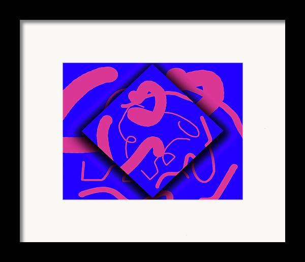 Abstract Framed Print featuring the digital art Neon Out Of Bounds by Carolyn Marshall