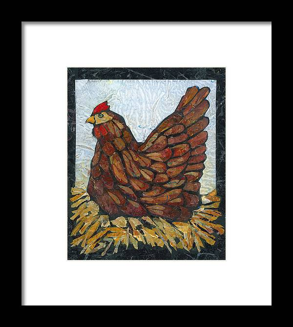 Chicken Framed Print featuring the painting Nesting Hen by Barbara Nye