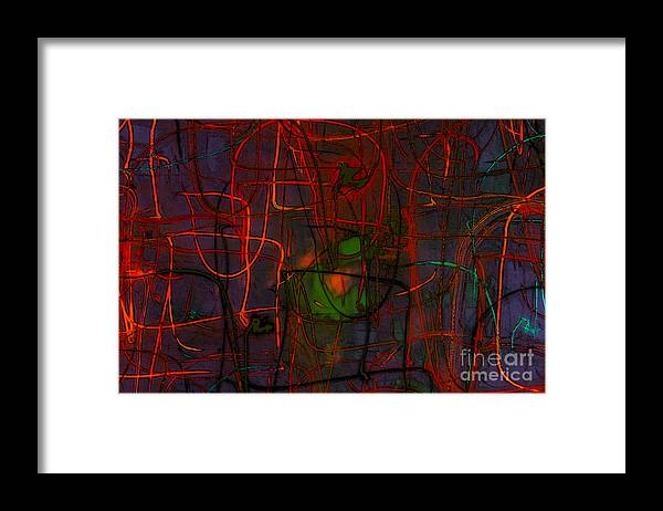 Abstract Framed Print featuring the digital art Networking by Jeff Breiman