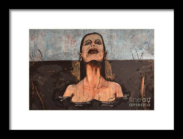 Abstract Framed Print featuring the painting New Beginings- The Woman In The Pool by Vincent Avila