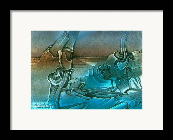 Horizon Framed Print featuring the drawing New Earth1 1992 by Glenn Bautista
