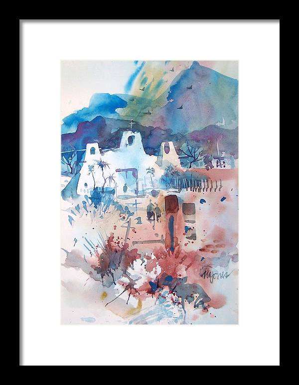 New Mexico Framed Print featuring the painting New Mexico Mission by Micheal Jones