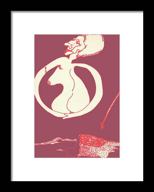 Drawing Framed Print featuring the drawing New Mexico Moon Rose by Catherine Helmick