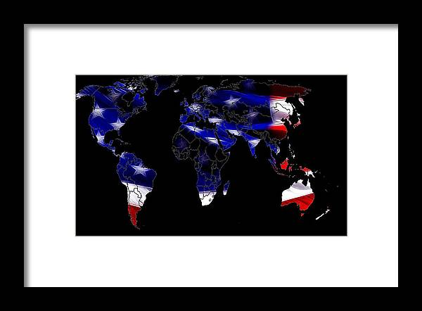 Map World Digital Art Atlas Country America Africa Asia Europe Australia Color Colorful Expressionism Impressionism Save American Usa Stars Stripes Flag Framed Print featuring the digital art New World Map by Steve K