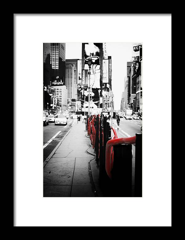 Black and white photography nyc framed print featuring the photograph new york times square black