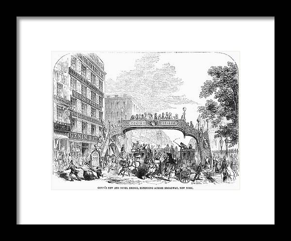 1852 Framed Print featuring the photograph New York: Broadway, 1852 by Granger
