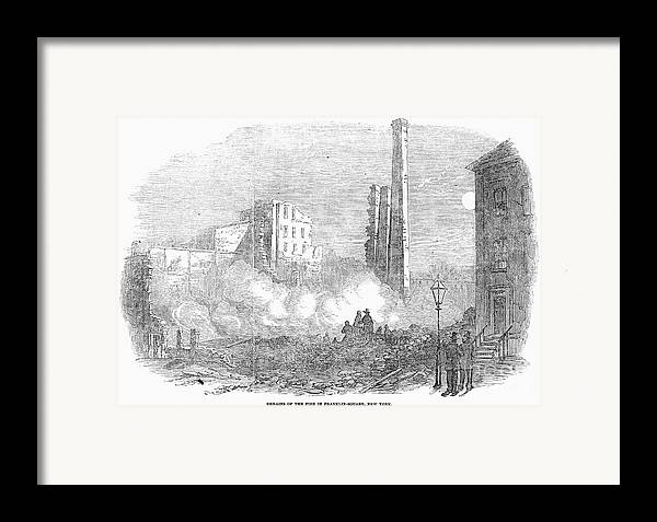 1853 Framed Print featuring the photograph New York: Fire, 1853 by Granger