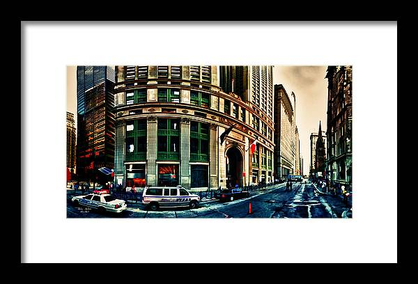 New York Framed Print featuring the digital art New York NYPD by Radu Aldea