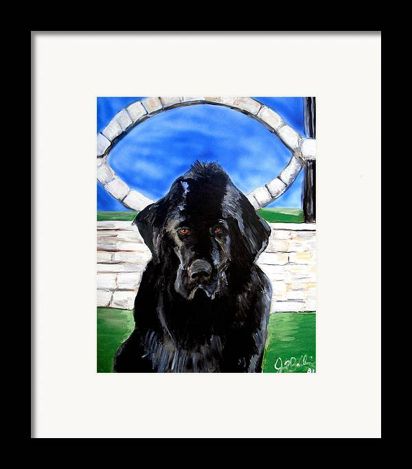 Dog Framed Print featuring the painting Newfoundland by Jon Baldwin Art