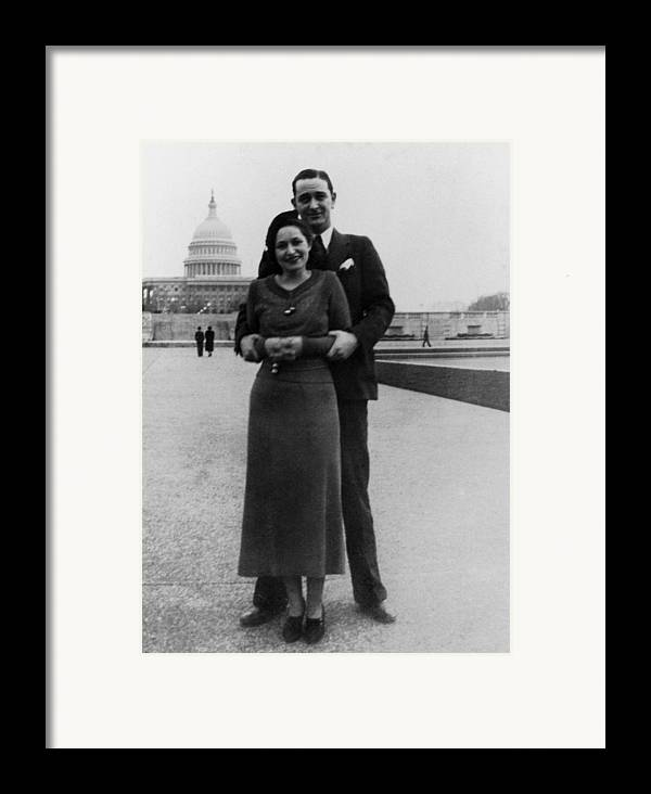 History Framed Print featuring the photograph Newlywed Lyndon And Lady Bird Johnson by Everett
