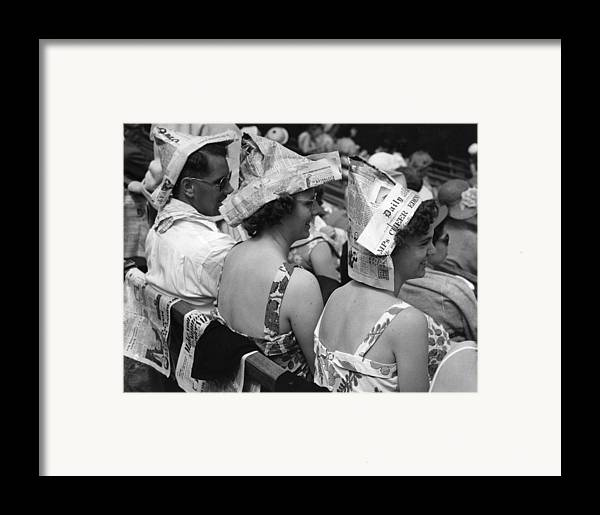 20-24 Years Framed Print featuring the photograph Newspaper Hats by Fox Photos