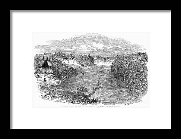 1849 Framed Print featuring the photograph Niagara Falls, 1849 by Granger