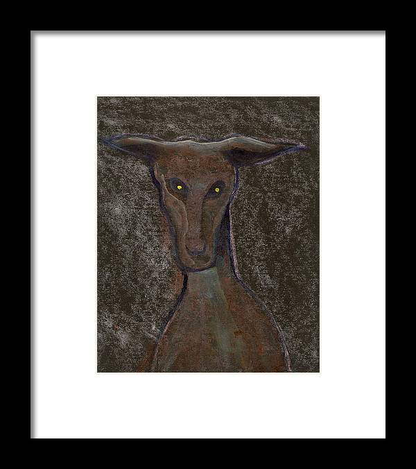 Original Primitive Folk Art Painting Of A Dog Executued On 10x8 Inch Mat Board.i Accept Paypal.uk Cheques Or Uk Postal Orders .thank You For Looking Framed Print featuring the mixed media Nice doggie by Peter McPartlin