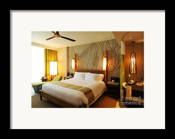 Hotel Framed Print featuring the photograph Nice Hotel-room by Atiketta Sangasaeng