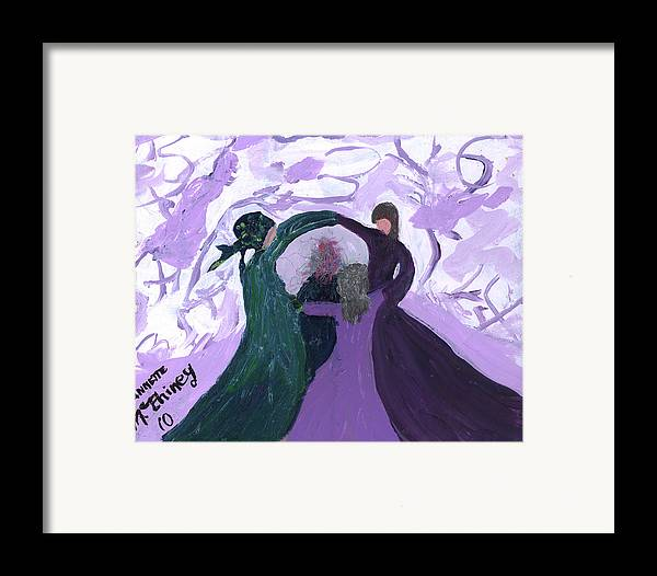 Women Framed Print featuring the painting Nicki's Support Circle by Annette McElhiney