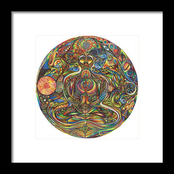 Chakra Framed Print featuring the drawing nIeyeIn by Jonathan 'DiNo' DiNapoli