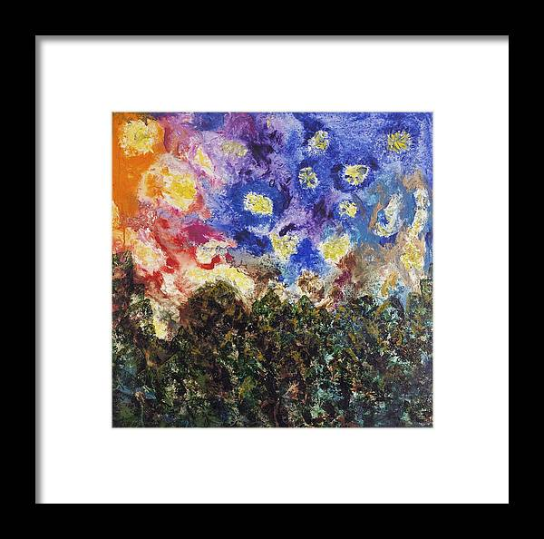 Abstract Landscape Framed Print featuring the painting Night And Day by Mr Dill